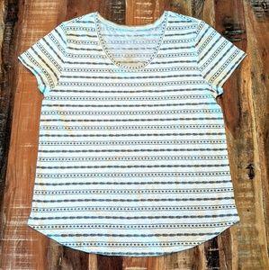 LOFT Short Sleeve T-shirt white black print Sz XL